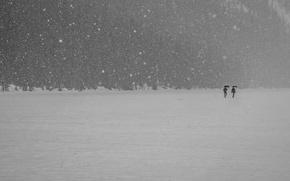 Picture winter, snow, mountains, lake, people, umbrella, walking, frozen