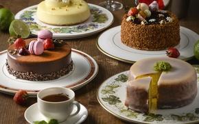 Wallpaper berries, tea, cake, cream, dessert, macaron