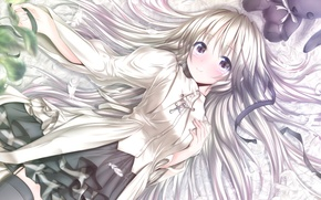 Picture look, smile, toy, rabbit, dress, Anime, long hair, white hair, cross, silver hair, loneliness for …