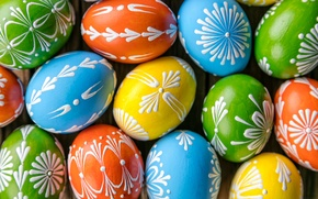 Picture eggs, spring, colorful, Easter, happy, wood, spring, Easter, eggs, holiday