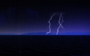Picture sea, the sky, night, lightning