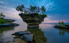 Picture sea, the sky, clouds, trees, sunset, lake, stones, rocks