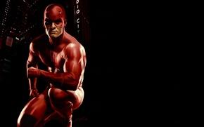 Picture red, mask, costume, black background, Marvel Comics, Daredevil, Matt Murdock