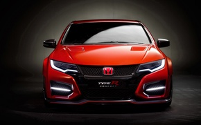 Picture Orange, Car, Honda Civic, Type R
