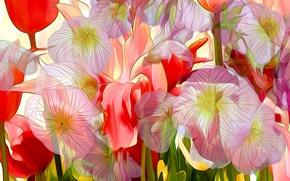 Picture flowers, touch, rendering, paint, petals, line