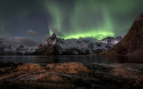 Picture sea, landscape, mountains, night, lights