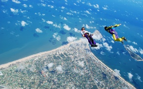Picture sea, beach, clouds, camera, parachute, container, helmet, skydivers, extreme sports, the freefly, camera flyer