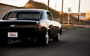 Picture Chevrolet, black, tail, Chevelle, The Sickness, back side