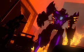 Picture fire, dark, Megatron, Transformers, Decepticon