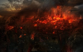 Picture the city, fiction, fire, Apocalypse, zipper, ruins, the end of the world
