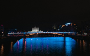 Picture night, Moscow, night city, Kyiv bridge, Moscow at night