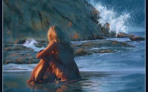 Picture sea, wave, girl, sunset, rocks, romance, figure, graphics, picture, the evening, dress, blonde, painting, gently, …