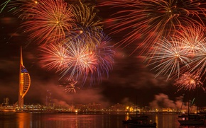 Picture England, salute, fireworks, Portsmouth, Hampshire