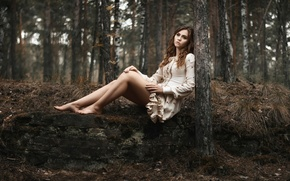 Wallpaper sadness, legs, girl, loneliness, in the woods