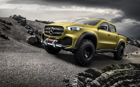 Wallpaper Mercedes Benz, Powerful Adventurer, off-road pickup truck, Mercedes - Benz, 2016, the concept, X-Class