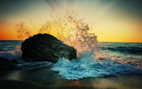 Picture sea, beach, squirt, dawn, shore, stone