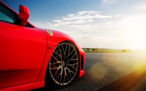 Picture the sky, the sun, clouds, Ferrari, red, disk, Ferrari, Blik, red, runway, bus, F-430
