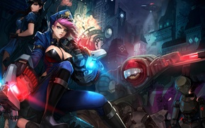Picture girl, the city, the game, robot, art, League of Legends, Piltover