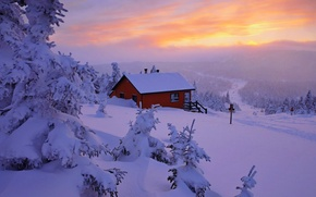 Picture snow, winter, white, sunset, sky, scenery, cool, snow, nature, house, winter, house, nice, the sky, ...