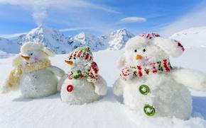 Wallpaper winter, snow, mountains, nature, new year, snowmen, White snowmans, 2015