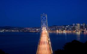 Picture the sky, night, bridge, the city, lights, Strait, movement, excerpt, lighting, CA, San Francisco, USA, …