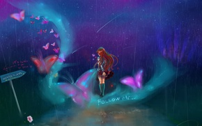 Picture girl, stars, butterfly, night, sign, turn, art, form, painting, Gabrielle Ragusi, follow me