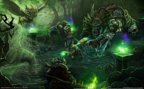 Picture forest, lake, fantasy, monsters, game wallpapers, Heroes of Newerth