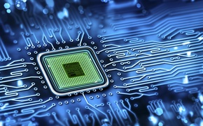 Picture blue, chip, color, fee, track, processor, hi-tech, wallpaper., technology, processor, cyberspace, microchip