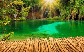 Picture nature, lake, Park, photo, waterfalls, rays of light, Croatia, Plitvice