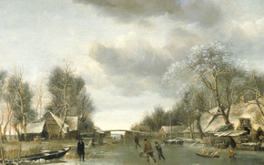 Picture landscape, Winter, picture, Jan van de Capelle