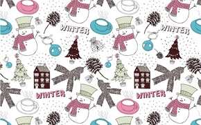 Picture winter, house, new year, ball, Christmas, Cup, snowman, tree, bag