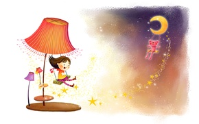 Wallpaper childhood, fantasy, swing, the wind, figure, lamp, laughter, stars, girl, animal