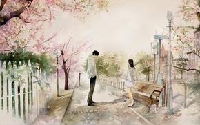 Wallpaper Park, art, guy, bench, the city, girl, shop, Sakura, date, he he wu