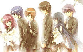 Picture girls, anime, art, characters, boys, Angel Beats!