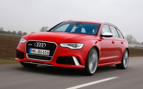 Picture car, Audi, red, road, speed, Before, RS6