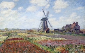 Picture landscape, picture, Claude Monet, Tulip fields with Windmill Rijnsburgse