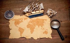 Wallpaper model, map, magnifier, compass