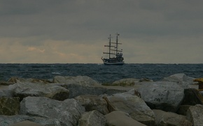 Wallpaper sea, ship, water, stones