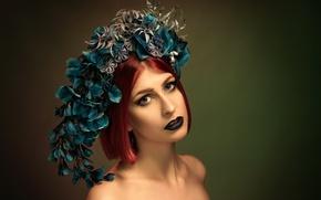 Picture leaves, girl, portrait, makeup, wreath