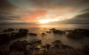 Picture widescreen, HD wallpapers, Wallpaper, sea, the evening, water, full screen, background, horizon, clouds, widescreen, background, …