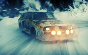 Picture snow, Audi, skid, rally, rally, audi quattro