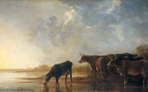 Picture animals, landscape, picture, Albert Jacobs Cape, River Landscape with Cows