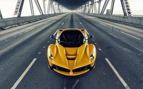 Picture Ferrari, Front, Bridge, Yellow, Road, Supercar, LaFerrari, Gipercar