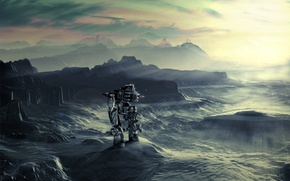 Picture light, mountains, robot