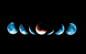 Picture blue, black, Eclipse, parade of the planets