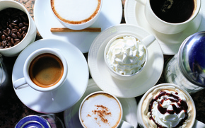 Picture table, coffee, cream, sugar, mugs, drinks, grain, saucers, cappuccino