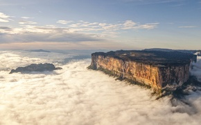 Picture clouds, mountains, rock, height, waterfall