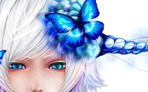 Picture girl, butterfly, blue, face, art, white background, horns, bouno satoshi