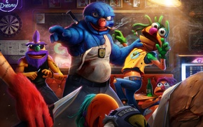 Picture bar, fight, art, disassembly, police, Grover, THE STREETS, Muppet