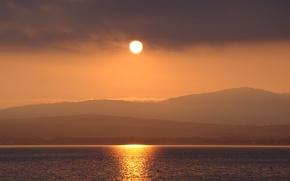 Picture sea, the sun, sunset, mountains, nature, Gelendzhik, Kuban, Akela White